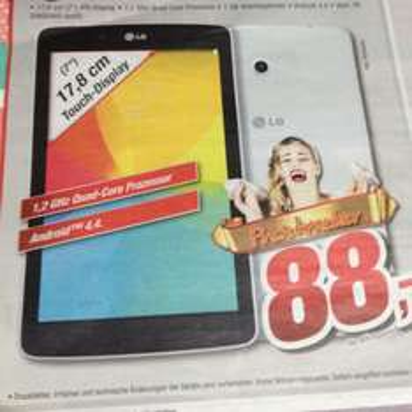 (Lokal TootalMarkt Brhv&Dh) LG G Pad E7 weiß für 88€