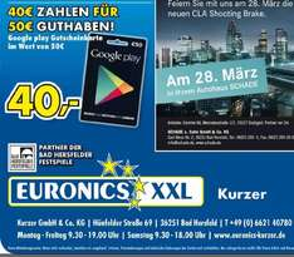 [Euronics XXL HEF, FD] 50€ Google play Gutscheinkarte für 40€