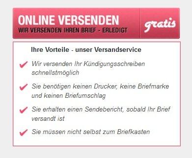 Gratis Versand aller Kündigungsschreiben mit dem Online Versandservice mit www.kündigen.de
