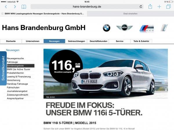 (Bmw düsseldorf Leasing ) BMW 116I 5-TÜRER | MODELL 2015 mtl. 116€ & einmalig 3500€ für 36 Monate