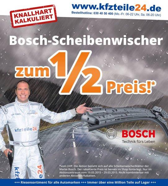 Bosch Scheibenwischer zum 1/2 Preis bei Kfzteile24.de