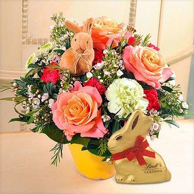 """Blumenstrauß """"Hasenpost"""" von Blume 2000 mit Lindt Goldhase für 26,94€ (statt 29,94€) @Blumen.de"""