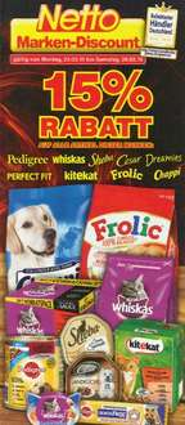 [Netto Marken-Discount] 15% Rabatt auf Tierfutter (23.03 - 28.03.)