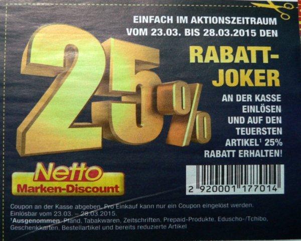 Netto Marken-Discount (ohne Hund) 25% Rabatt-Joker