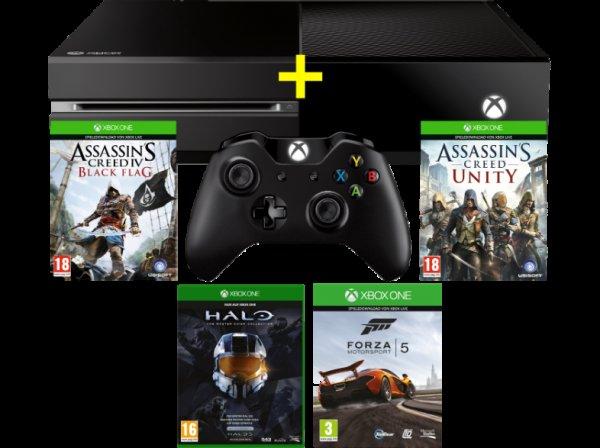 MICROSOFT Xbox One inkl. AC Unity (DLC) und AC Black Flag (DLC) + Forza 5 (DLC) + Halo Master Chief ab 299€ (bzw. 313€ inkl VSK nach Deutschland) @MM Online AT