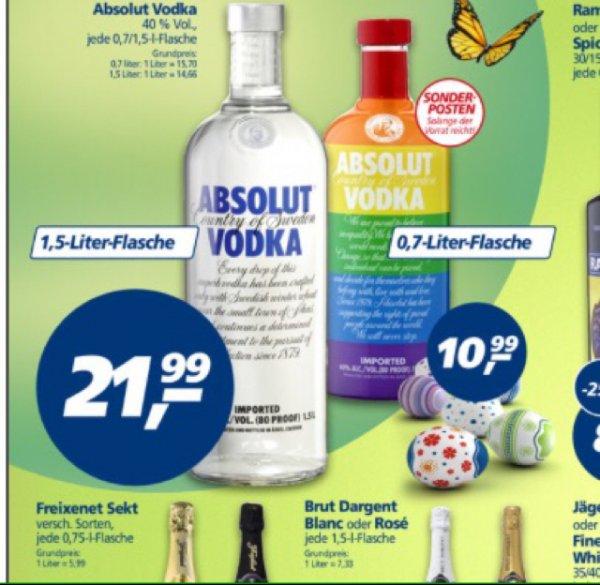 [Real] Absolut Vodka 1,5 Liter Flasche für 21,99€