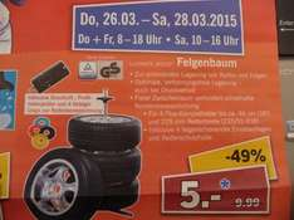 (Lokal) Lidl in Hanau: Felgenbaum + Druckluft-, Profiltiefenprüfer + 4 Chips zur Reifenkennzeichnung + Reifenschutzhülle für 5 Euro