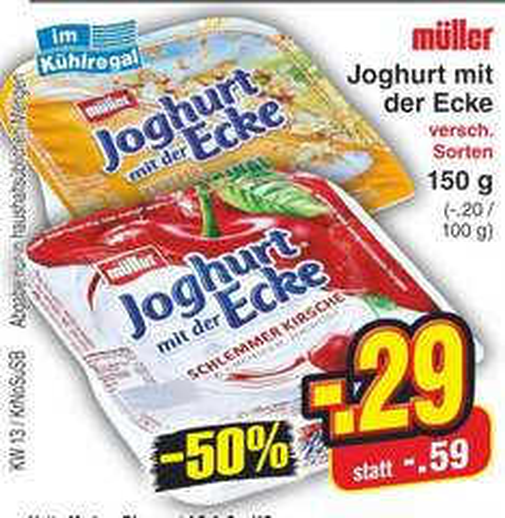 [Netto MD bundesweit] Joghurt mit der Ecke von Müller ab 23.03. für 0,29 Euro