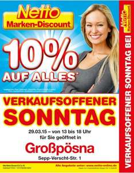 [Netto] Verkaufsoffener Sonntag in Großpösna (+ viele andere Orte) am 29.3. – 10% auf alles