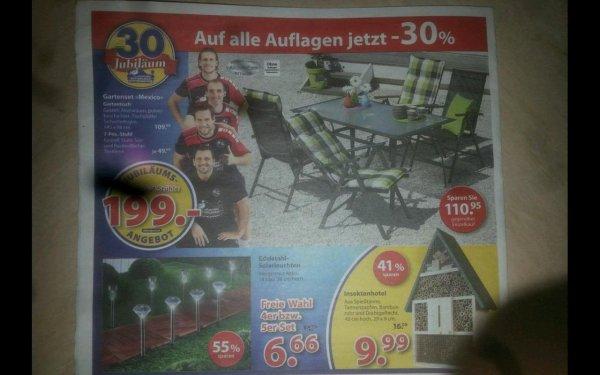 Dänisches bettenlager  (Bundesweit) Gartentischset , Solarleuchten 6,66 Auflagen -30%