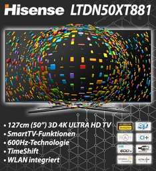 "[Ebay-WOW] Hisense LTDN50XT881 126cm 50"" 4K Ultra HD 3D Fernseher DVB-T/C/S2 600 Hz WLAN"