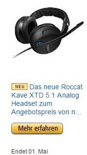 Release Aktion: ROCCAT Kave XTD Analog für 99,99 statt 119,99 bei Amazon und Alternate - 17% Ersparnis