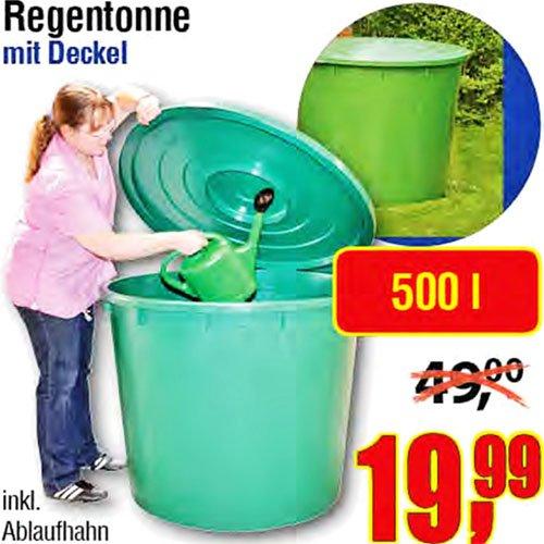 500 Liter XXL Regentonne mit Deckel u. Ablauf-Hahn für 19,99€ bei [Centershop]