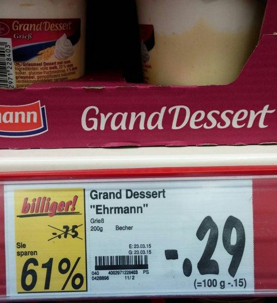 """[Lokal Leipzig Kaufland-Reudnitz] Grand Dessert Ehrmann """"Grieß"""""""