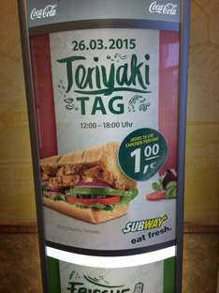 Subway Teriyaki Sub - am 26.03.2015 für 1€ statt 4,29€ in Thüringen, Sachsen-Anhalt und Berlin von 12 bis 18 Uhr