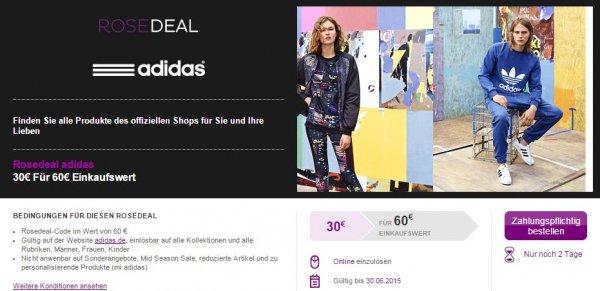 Vente-privee 60€ Adidas Gutschein für 30€