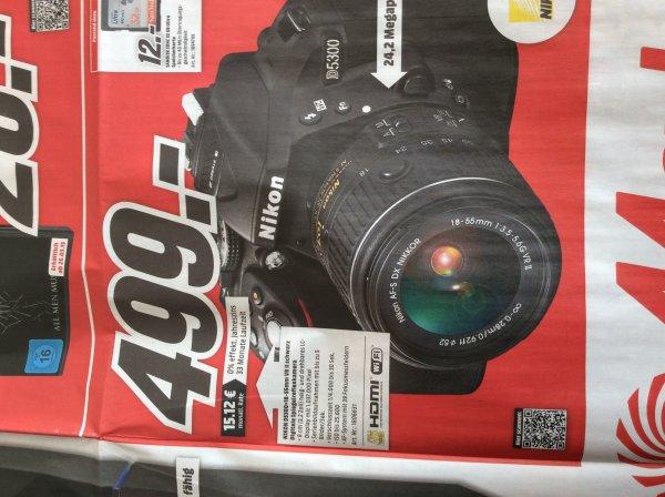 [Offline + Online, evtl. bundesweit] Media Markt: Nikon D5300 + 18-55mm VR II schwarz DSLR