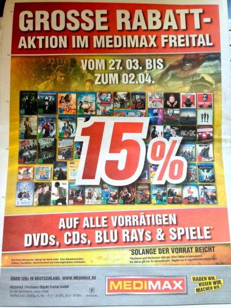 (lokal Medimax Freital) 15% auf alle DVD´s, Blu rays, CDs & Spiele vom 27.3. bis zum 2.4.15