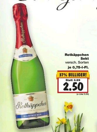 KW 14 Kaufland  Rotkäppchen Sekt, verschiedene Sorten 0,75l für nur 2,50 EUR.