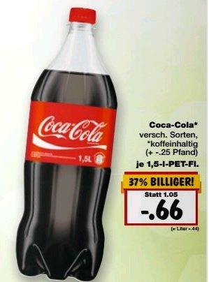 Kaufland KW 14 Coca Cola 1,5 Ltr für 66 Cent verschieden Sorten