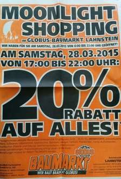 [Koblenz] 20% bei Globus Baumarkt in Lahnstein am 28.03.2015