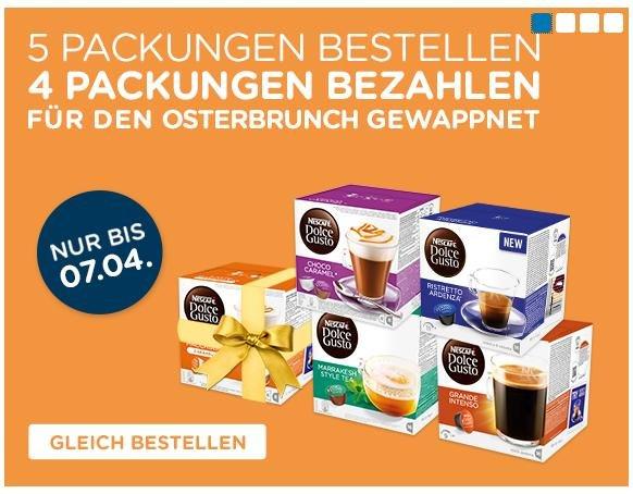 Nestlé® Dolce Gusto 5 Packungen bestellen 4 bezahlen bis 07.04.2015