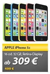 [Meinpaket] iPhone 5c 16 GB LTE in verschiedenen Farben für 309,- EUR / 32GB für 359,- EUR (NEUWARE)