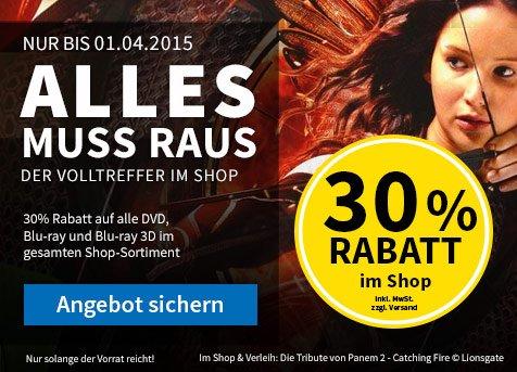 30% Rabatt auf alle gebrauchten Blu-Rays und DVDs bei Videobuster.de
