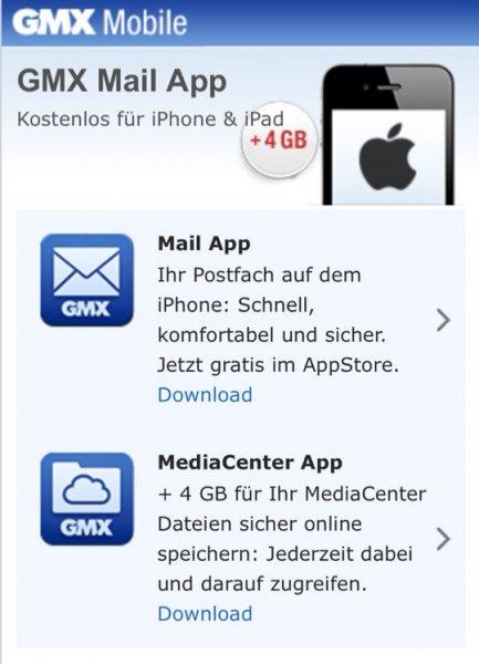 4GB für GMX MediaCenter durch App