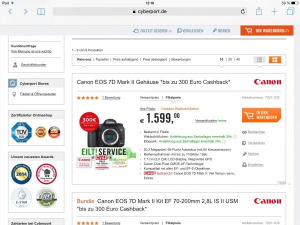 Canon EOS 7D mark II Gehäuse ( Body only) für  €1583.01 bei cyberport filialen preis deutschlandweit