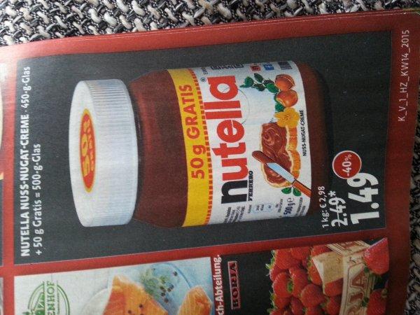 Nutella 450g+50g Glas 1,49