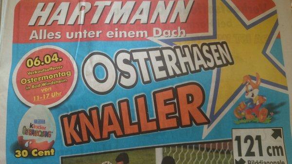 [Bad Windsheim - Euronics] KINDER Überraschungsei Ü-Ei nur 30ct/Stück - Bratwurst mit Brötchen 50ct (nur am Ostermontag)