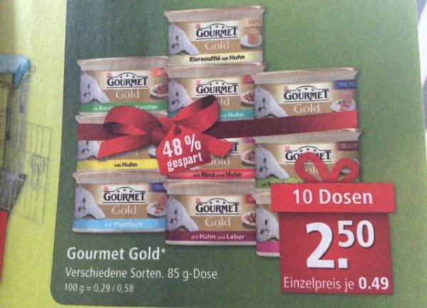 Katzenfutter 10 Dosen Gourmet Gold (0,25 €/Dose) Fressnapf bundesweit