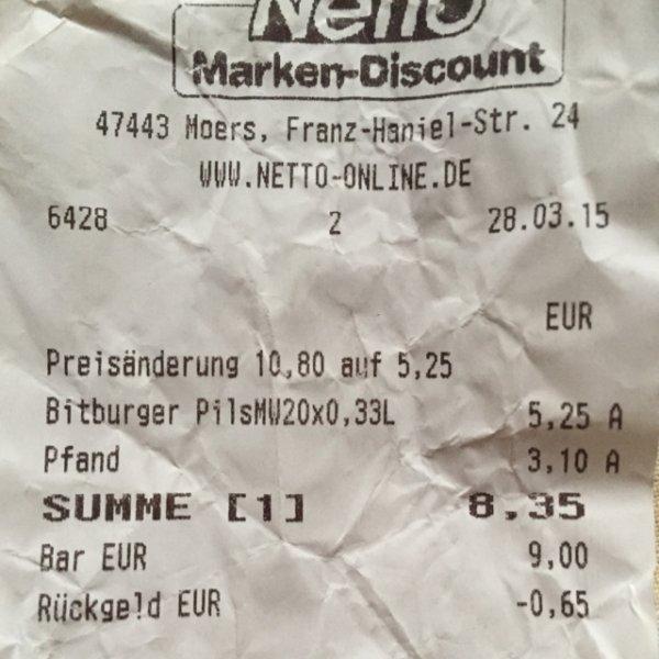[Lokal] Netto Moers - Bier Kasten KöPi Bittburger Frankenheimer für 5,25€