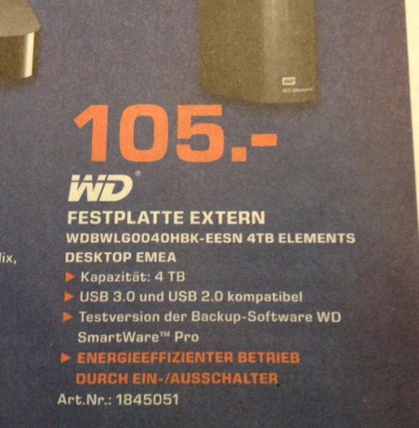 WD Elements Desktop 4TB @ [Lokal] Saturn Mönchengladbach