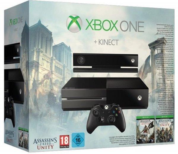 Amazon XBOX ONE Angebote! z.B. XBox One mit (!) Kinect und AC Unity & Black Flag für 359€