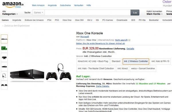 Xbox One inkl. 2 Wireless Controller - 329€ Amazon