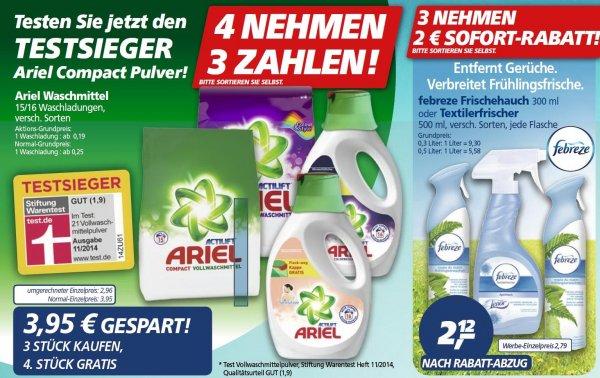 [REAL] ARIEL Waschmittel 4 kaufen 3 Bezahlen, Febreze 3 kaufen 2,00 € Sofort Rabatt (6.-11.04)