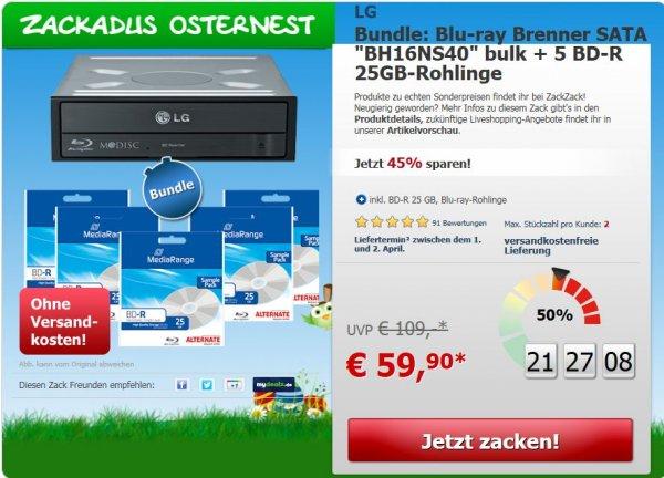 "[ZackZack] Bundle: Blu-ray Brenner SATA ""BH16NS40"" bulk + 5 BD-R 25GB-Rohlinge für 59,90€"