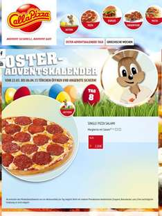 Call a Pizza Oster Adventskalender - heute Single Pizza Salami 2€ anstelle 6,9€ - online / offline