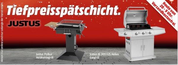[Mediamarkt Tiefpreisspätschicht] JUSTUS JG 300 F2S Helios Gasgrill 3 Brenner für 349.-€*** und Justus Pollux Säulengrill / Holzkohlegrill, Schwarz für 99,-€***  und weitere ab 77,-€  VSK Frei