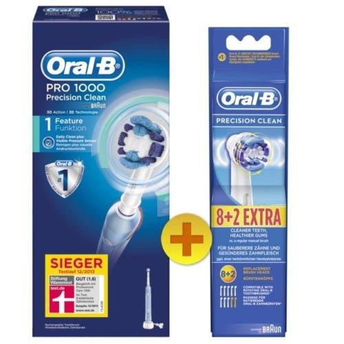 [ebay] Braun Oral-B PRO 1000 Zahnbürste + 10 Stück Oral-B Ersatzbürsten Precision Clean für 54,99 EUR