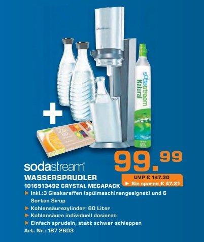 [Saturn] Sodastream Wassersprudler Crystal Megapack für 99,90 EUR (Online für 94,90 EUR)