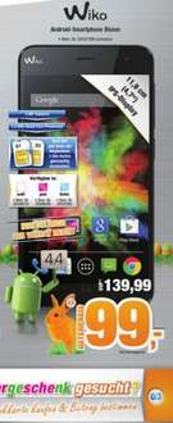 "Wiko Bloom Dual-SIM - 4,7""/ 4GB ROM / 1GB RAM / 480x800px / 2000mAh / Andriod 4.4.2 für 99,- Euro (Expert Bundesweit)"