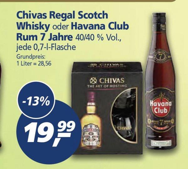 [REAL]  Diese Woche:  CHIVAS Regal Scotch 12 mit 2 Gläsern oder Havana Club Rum 7  für 19,99 EUR