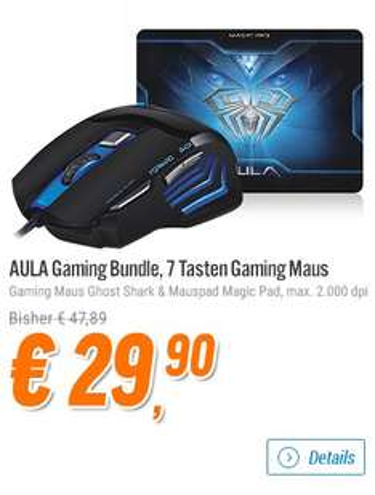 AULA Gaming Bundle, bestehend aus Gaming Maus Ghost Shark und Mauspad Magic Pad, @notebooksbilliger de
