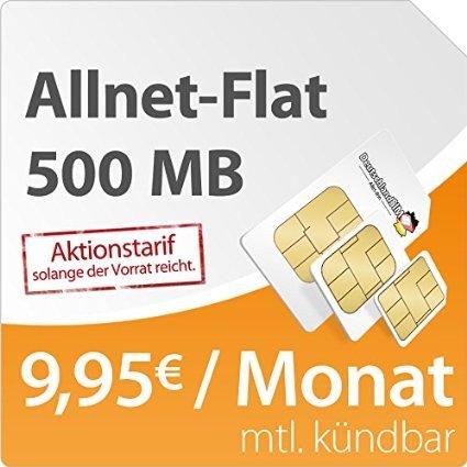 [Amazon Blitzdeal]DeutschlandSIM Flat S 500 [SIM, Micro-SIM und Nano-SIM] monatlich kündbar (500MB Daten-Flat mit max. 7,2 MBit/s, Telefonie-Flat, 9ct pro SMS, 9,95 Euro/Monat) o2-Netz 4,95€ Startpaket