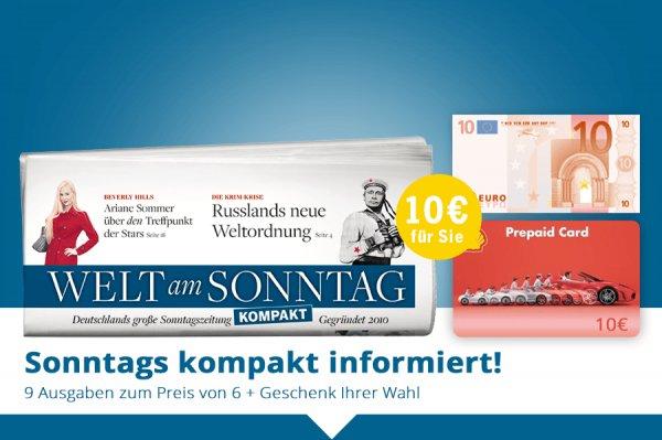 Welt am Sonntag Kompakt 9 Wochen gratis lesen durch qipu und Geschenk