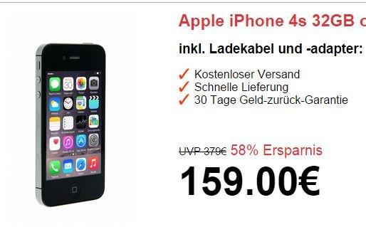 [ebay] Apple iPhone 4s 32GB Schwarz oder Weiß refurbished für 143,10 EUR