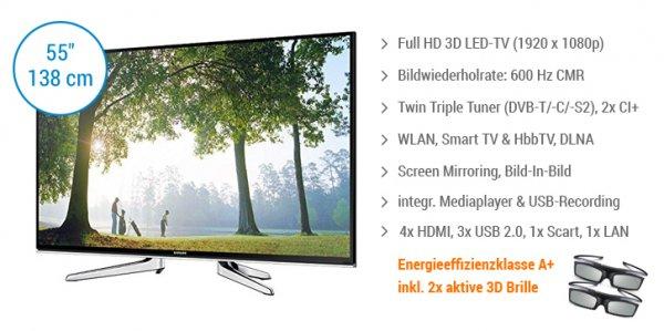 Samsung UE55H6690 138 cm (55 Zoll) 3D LED-TV, Full HD, 600 Hz, Twin Triple Tuner, 2x CI+, WLAN, Smart TV, DLNA von notebooksbilliger.de
